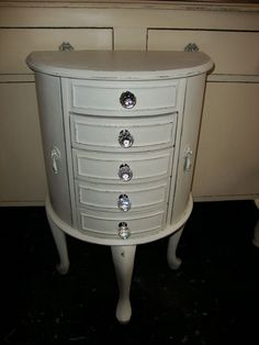 Client commission...antique freestanding jewellery cabinet in distressed and waxed James White with replacement cut crystal knobs...