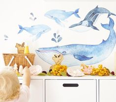 Whale Set Watercolour effect - Individual cut out whales. Flower Wall Decals, Kids Wall Decals, Butterfly Wall Stickers, Watercolor Whale, Watercolour, Boy Toddler Bedroom, Watercolor Effects, Bedroom Decor, Bedroom Ideas