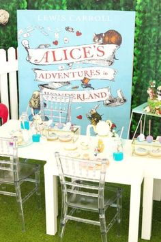 Don't miss this beautiful Alice in Wonderland birthday party! The table settings are so pretty! See more party ideas and share yours at CatchMyParty.com   #catchmyparty #partyideas #aliceinwonderland  #tablesettings #aliceinwonderlandparty #disneyparty