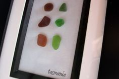 Sea glass in picture frame