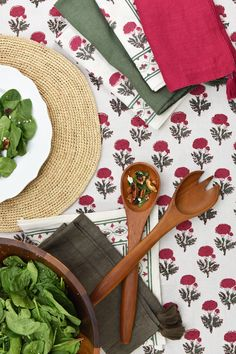 Revel in the beauty of a majestic rose print with our Gaya Rose collection! Vivid reds and pinks and bright greens combine in the hand-drawn florals and repeat along the patterned border for added visual interest. The versatile color combination makes this a lovely choice for holidays or for warm-weather gatherings alike. Floral Tablecloth, Cloth Napkins, Bright Green, Table Linens, Red And Pink, Warm Weather, Tabletop, Repeat, Hand Drawn