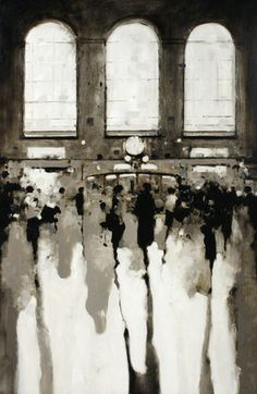 Geoffrey Johnson, Grand Central 10am, 2013, Oil on wood panel, 36 x 24 inches
