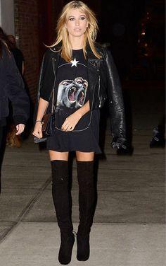 hailey baldwin look street style otk boots