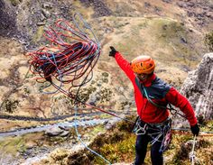 "HB Climber Tim Howell ""Throwing rope always unnerves me, seems unnatural to chuck ur lifeline over the edge!  #northwales"