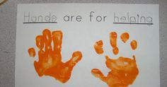 . . . Helping Hands  We read the book Hands Are Not for Hitting and talked about how we can use our hands to help others. Thanks to Miss Mo...