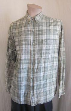 CACTUS CLOTHING Men's Green Beige Plaid Button Front Cotton Shirt L Large #CactusClothing #ButtonFront