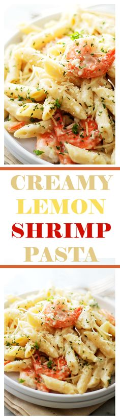 Creamy Lemon-Shrimp Pasta - Lemony, creamy, cheesy Shrimp and Pasta dinner that's ready in 30 minutes, from start to finish! Get the recipe on diethood.com