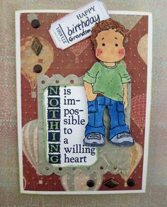 Birthday card for a grandson with a Magnolia stamp.