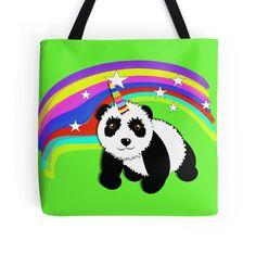 Cute Panda Bear Fantasy Rainbow Unicorn by Artification