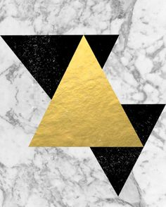Marble Tri Black & Gold - gold foil, gold, marble, black and white, trendy, luxe, gold Art Print, black & white wall art, contemporary wall art, scandinavian wall art, minimalist wall art, modern wall art
