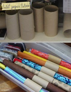 Toilet rolls to keep wrapping paper organised. They would look great decorated in scrapbooking paper!