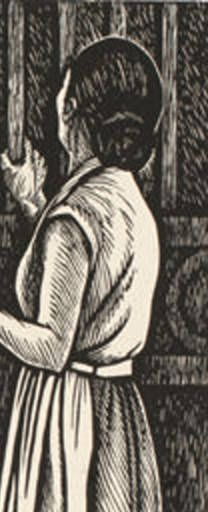 """The School is Closed"", 1962, linocut by Elizabeth Catlett. Catlett said that the purpose of her art is to ""present black people in their beauty and dignity for ourselves and others to understand and enjoy.""  Tags: Linocut, Cut, Print, Linoleum, Lino, Carving, Block, Woodcut, Helen Elstone, Woman, Children, Building."