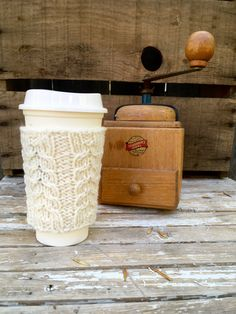 Coffee Cozy Coffee Sleeve Cable Knit Coffee Cup by beatknits