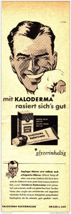 Original-Werbung/ Anzeige 1957 - KALODERMA RASIERWASSER / RASIERCREME / RASIERSEIFE - ca. 65 x 200 mm