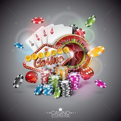 Vector illustration on a casino theme with color playing chips and poker cards on dark background. - Royalty Free Vector Illustration