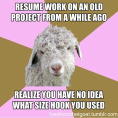crochet humor.. I totally did this the other day, frogged the whole scarf and started again