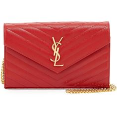 Saint Laurent Grain de Poudre Wallet-on-Chain (12,900 EGP) ❤ liked on Polyvore featuring bags, wallets, clutches, chain bag, yves saint laurent, snap closure wallet, credit card holder wallet and quilted bag