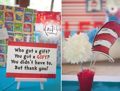 Gift table signage for a Dr Seuss Theme Birthday Party    actscreatives@gmail.com (Manila)
