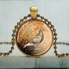 Pigeon Art Pendant Bird Pendant Bird Jewelry by backbonestudio2, $9.00