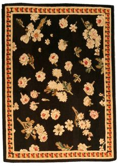 A Russian Bessarabian rug - An early century Russian Bessarabian antique rug, the black field with enlarged floral sprays and blossoms . Traditional Interior, Modern Interior, Interior Design, New York Galleries, Floor Art, Fabric Rug, Eclectic Decor, Modern Rugs, Textile Art