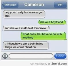 bahahaha cheating is bad but this is funny
