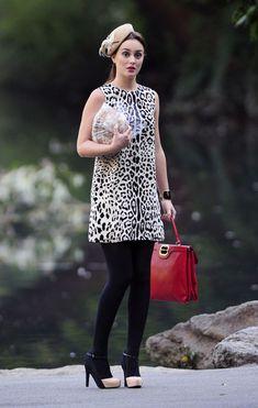 Gossip Girl Leighton Meester/Blair Leopard dress, black tights, matching heels & beret.