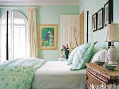 Pale aqua green. Design: Jennifer Garrigues. housebeautiful.com. #bedroom #aqua #green #color