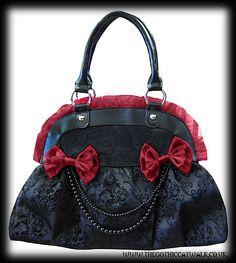 Gothic Victorian Black Damask & Burgundy Handbag