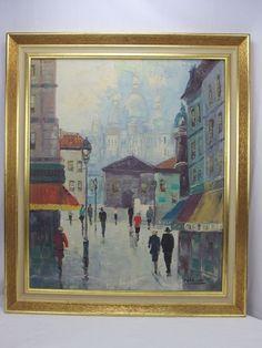 Pettier Signed Oil on Canvas Painting Paris Street Scene http://stores.ebay.com/mariasantiqueandvintage?_trksid=p2323012.m4035.l7167Sacre Coeur MCM
