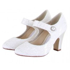 """Betty by Rainbow Couture for Rainbow Club Vintage Designer Ivory or White Lace Vintage Wedding or Occasion Shoes - A """"retro-modern"""" Mary Jane style, looks like a nice and stable heel, cute style"""