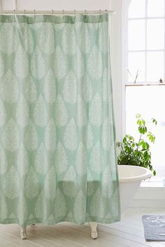 Leaf Block Print Shower Curtain In Green