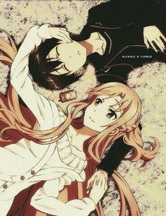 Kirito and Asuna laying down on the grass. -- SAO, Sword Art Online, characters, cute romantic anime couple, fan art