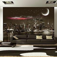 Fotomural decorativo de una ciudad de noche con la luna - http://vinilos.info/producto/fotomural-decorativo-de-una-ciudad-de-noche-con-la-luna/ Envío rápido Distintas medidas al realizar la compra Colores blanco y negro   #Comedor, #Dormitorio, #Recibidor, #Salón   #decoracion