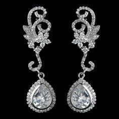 Dainty CZ Floral Swirl Wedding Earrings, Affordable Elegance Bridal -