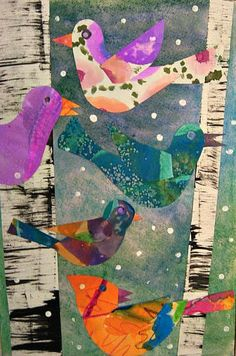 MaryMaking - bird collages inspired by Lois Ehlert - way to use painted paper scraps. Like how they make the birch trees using cardboard to drag the paint.