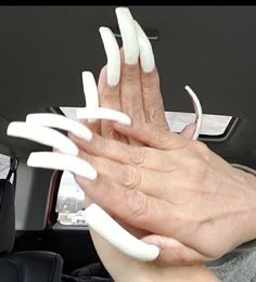 French Manicure Acrylic Nails, White Manicure, Double Team, Manicures, Long Nails, Hair Beauty, Slim, Nail Salons, Polish