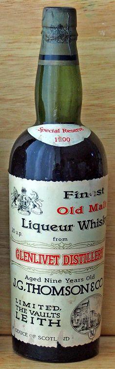 Glenlivet Special Reserve 1900 Aged nine years old. J.G. Thomson & Co  bottling.