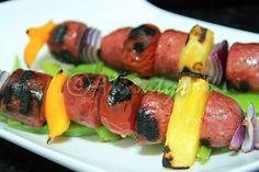 Terapia do Tacho: Espetada de salsichas de peru (Turkey sausage on a skewer)