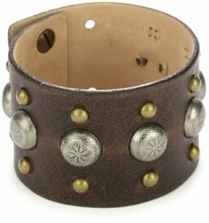 """Streets Ahead Leather with Mixed Brass and Antique Silver-Tone Studs Cuff Bracelet Streets Ahead. $55.11. Made in United States. Total cuff weight 20 grams. Adjustable to fit 6 1/2 - 7 1/2"""". Small brass studs on outer edge and silver-tone studs down center"""