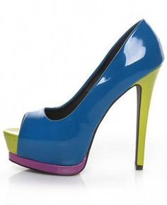 4b38b31f41b9 Charlotte Olympia. See more. Qupid Tatum 23 Turquoise Pat Color Block Peep  Toe Platform Pumps  Platformpumps Lime Green Heels