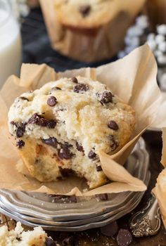 Sweet, soft, and fluffy bakery style chocolate chip muffins.
