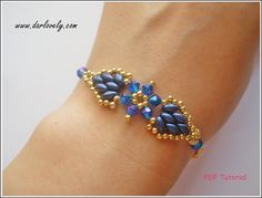 Golden Superduo Blue Flower Bracelet