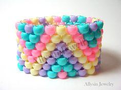 Pastel Kandi Cuff Raver Plur Fairy Kei Bracelet Zigzag by Allysin, $4.75
