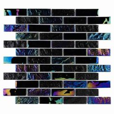 Summer Glass Tile Iridescent Black 1x3 for swimming pool, spas, bathroom, shower wall, and kitchen backsplash. Samples available.