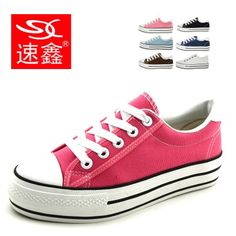 Classic Thick Platform shoes Canvas shoes Lace Casual shoes Low-top Women's shoes