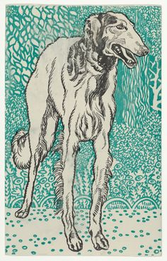 """heaveninawildflower: """" Borzoi (1912) by Moriz Jung ( 1885–1915). Published by Wiener Werkstätte. Image and text courtesy The Metropolitan Museum of Art. """""""