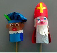 Sint en Piet-stokpopjes van wc-rolletjes Beschrijving: http://www.peterselie.nl/sint%20en%20piet