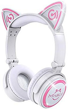 b5fcbaa321a Amazon.com: MindKoo Wireless Headphones Over Ear - Kids Bluetooth Headset  with LED Glowing Lights and Cute Cat Style, Built-in Microphone and Volume  Control ...