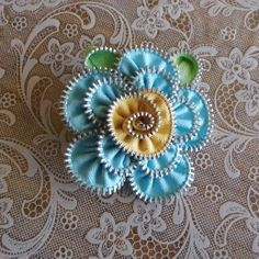 Light Blue and Yellow Zipper Flower Pin by mariiam on Etsy, $15.00
