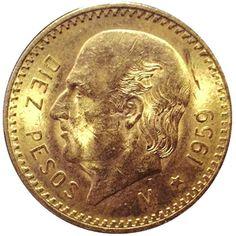 Moneda de oro 10 pesos Mexicanos., Tienda Numismatica y Filatelia Lopez, compra venta de monedas oro y plata, sellos españa, accesorios Leuc...